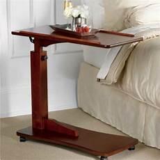 walnut bedside rolling work table hospital bed tray laptop