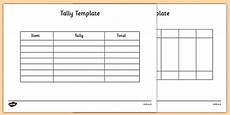 Tally Sheet Template Tally Chart Template Science Resource Twinkl