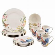 Designer Dishes Paula Deen Garden Rooster 16 Piece Stoneware Dinnerware