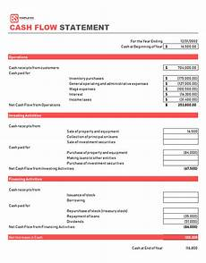 Sample Of Cashflow Statement Cash Flow Statement Template Cash Flows Formats Amp Examples