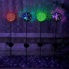 Solar Powered Stake Lights Solar Powered Large Bronze Effect Butterfly Globe Stake