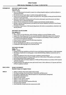 Security Job Resume Security Leader Resume Samples Velvet Jobs