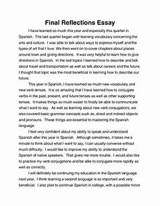 English Essay Writing Examples Spanish Final Reflections Essay