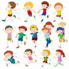 Simple Characters Of Kids Running Illustration Vector