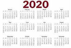 Calendar Page Image 2020 One Page Calendar Printable Calendar 2020