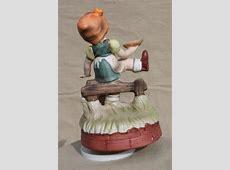 vintage music box, Hummel style little child ceramic goose