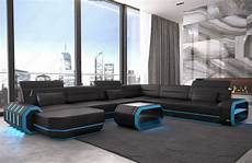 Couch Led Lights Leather Sectional Sofa Xl Roma Big Cornersofa Design Couch
