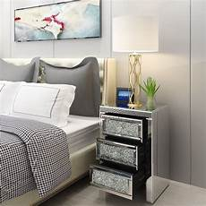 panana venetian mirrored glass bedside table with drawers