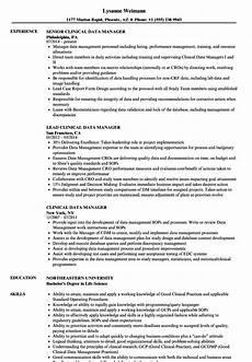 Clinical Trial Manager Resume Clinical Data Manager Resume Samples Velvet Jobs