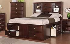 espresso solid wood bed frame w drawers and