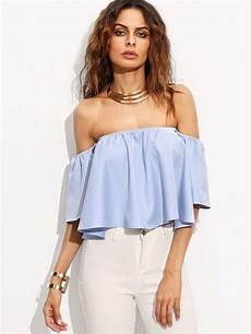 bell sleeve crop tops for blue the shoulder bell sleeve crop top romwe