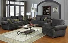 colton smokey grey chenille upholstered traditional sofa set