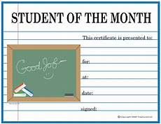 Student Certificates Free Free Student Of The Month Certificates Certificate Free