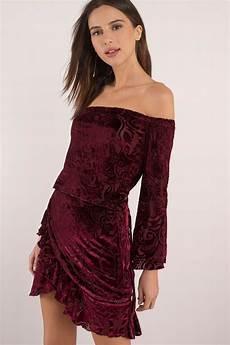 chic wine wrap dress winona shoulder dress velvet