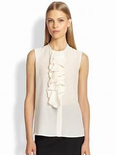 sleeveless ruffle blouse lyst etro sleeveless ruffled silk blouse in white