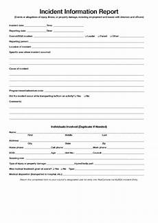 Incident Information Report Fillable Incident Information Report Form Printable Pdf