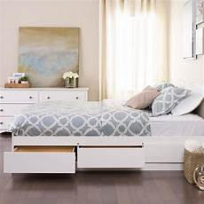 white mate s platform storage bed with 6 drawers