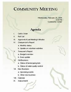 Community Meeting Agenda Meeting Agenda Template Word Templates