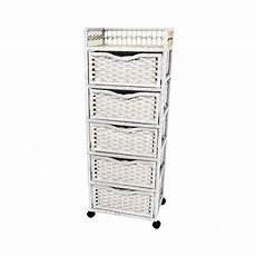 wicker drawer chest tower white linen basket wheels