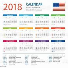 Us Calendars Calendar 2018 American Version With Holidays Stock Vector