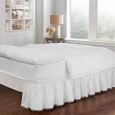 easy fit pom pom white king bed skirt