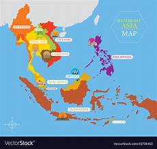 Southeast Asian Designs Southeast Asia Map With Country Icons And Location