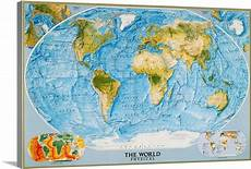 Geographic Map National Geographic Physical Map Of The World Wall Art