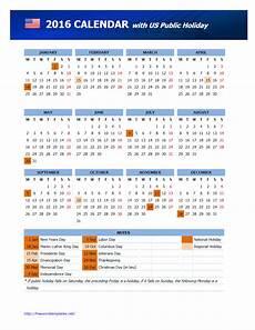 Us Calendars 2016 Usa Public Holidays Calendar Freewordtemplates Net