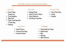 House Chores Schedule Weekly House Chores Schedule