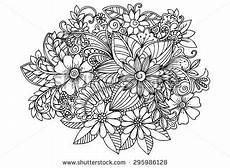 Malvorlage Erwachsene Blumen Doodle Flowers In Black And White Vector Floral Design
