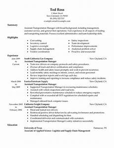 Trucking Resume Examples Unforgettable Transportation Assistant Manager Resume