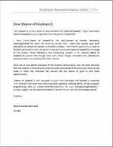 How To Write Recommendation Letter For Employee Ms Word Employee Recommendation Letter Template Word