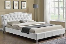 white faux leather designer bed frame
