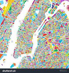 Malvorlagen New York Version New York City Manhattan Colorful Map Stock Vector