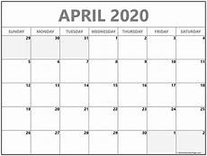 Monthly 2020 Calendar Printable April 2020 Calendar Free Printable Monthly Calendars