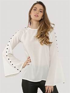 womens bell sleeve tops and blouses buy ridress button up bell sleeve top for s