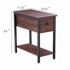 Hoobro End Table Rustic Side Table With 3 Tier Shelf by Hoobro Side Table 2 Tier Nightstand With