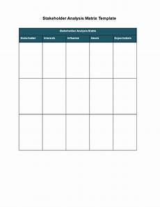 Stakeholder Analysis Template Stakeholder Analysis Matrix Template Templates At