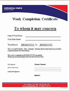 Job Completion Form Excel Work Completion Certificate Templates For Ms Word Word