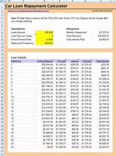Calculate Car Loan Repayment Free Car Loan Calculator Excel Spreadsheet