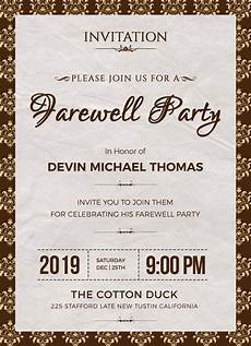 Farewell Invitation Email Farewell Invitation Design Template In Word Psd Publisher
