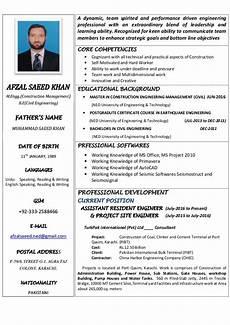Professional Cv Format For Engineers Civil Engineer Cv
