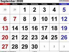 Printable Calendars September 2020 September 2020 Calendar Templates For Word Excel And Pdf