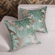 luxurious green floral cut velvet throw pillow