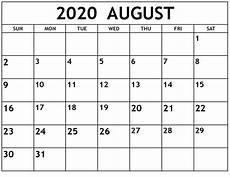 August 2020 Calendar With Holidays Free Printable August 2020 Calendar Template In Editable