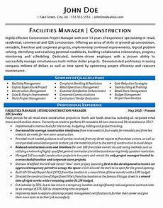 Facilities Manager Resume Facilities Manager Resume Example Construction Projects