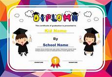 Free Certificate Template For Kids Colorful Kids Diploma Certificate Background Design