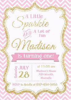 Pink Invitation Card Pink And Gold Invitation Gold Glitter Invitation 1st
