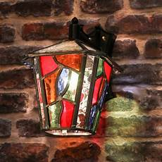 Coloured Outdoor Lantern Lights Decorative Multi Coloured Stain Glass Outdoor Wall Lantern