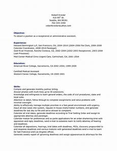 Receptionist Objective On Resume Receptionist Resume Objective Free Resume Templates